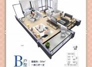B户型56平米2室2厅1卫1阳台1厨